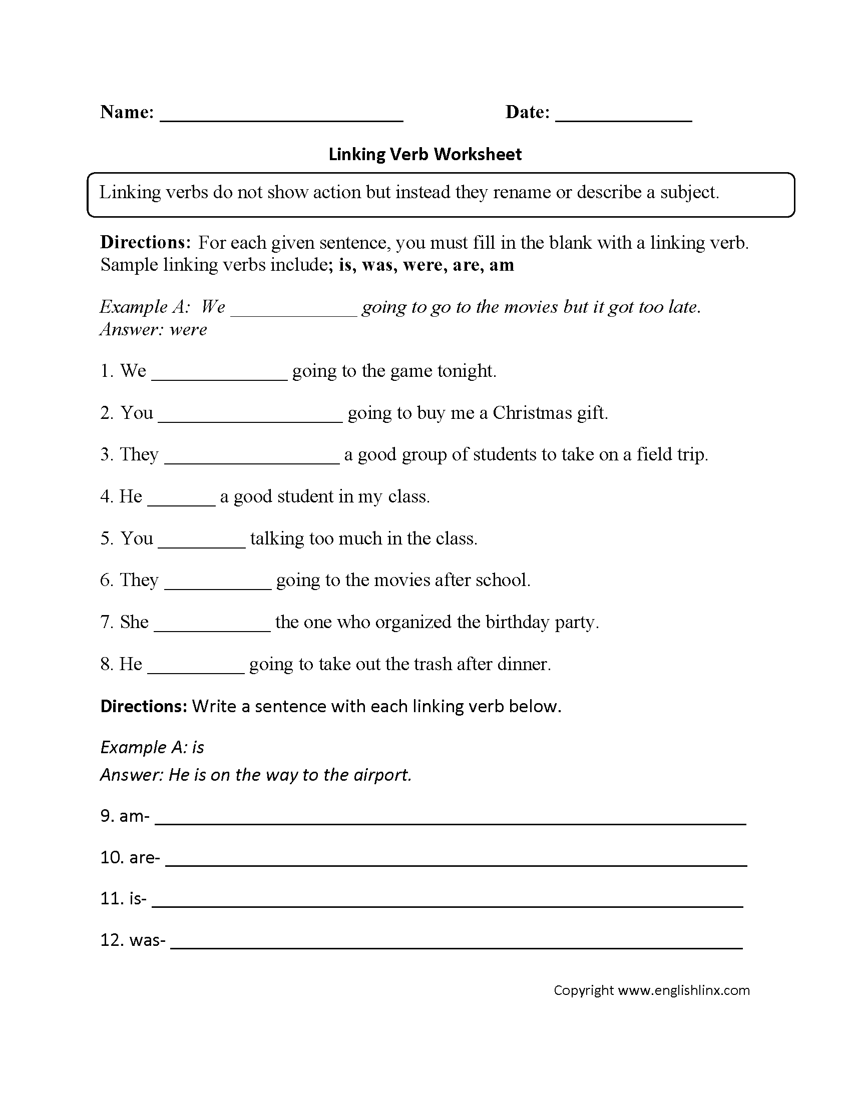 Helping Verbs Worksheet 3rd Grade