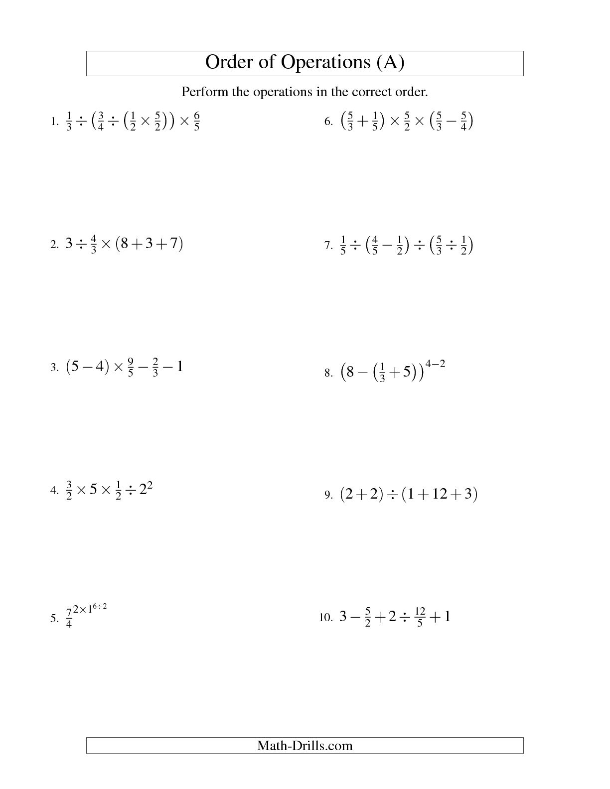 12 Best Images Of Order Of Operations Expressions Worksheet