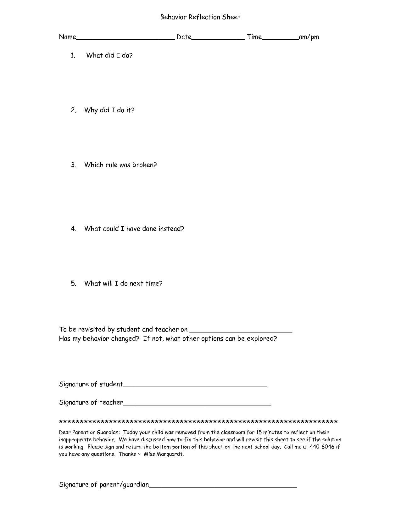 16 Best Images Of Student Behavior Worksheet