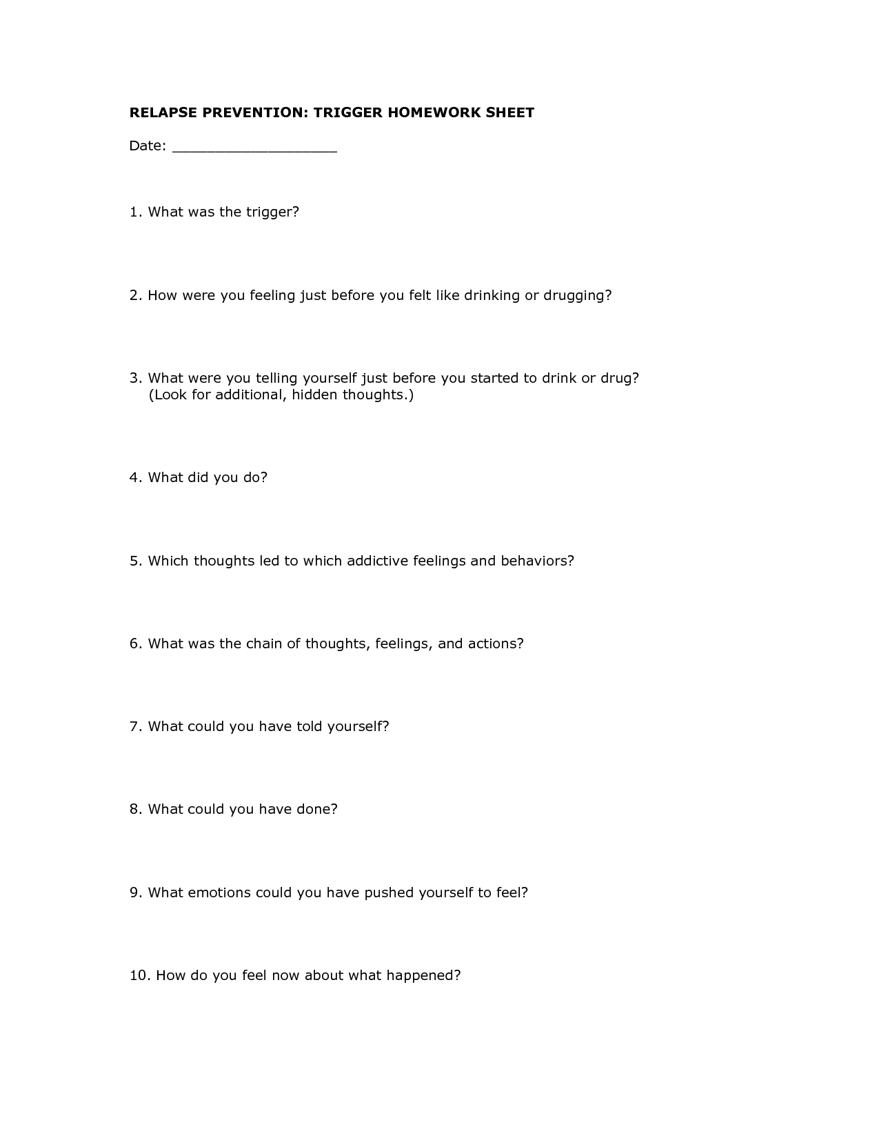 18 Best Images Of Recovery And Relapse Worksheet