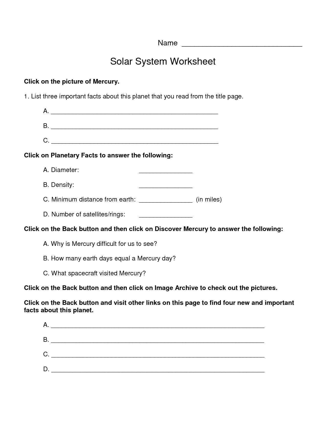 5 Best Images Of Planets Worksheet 1st Grade