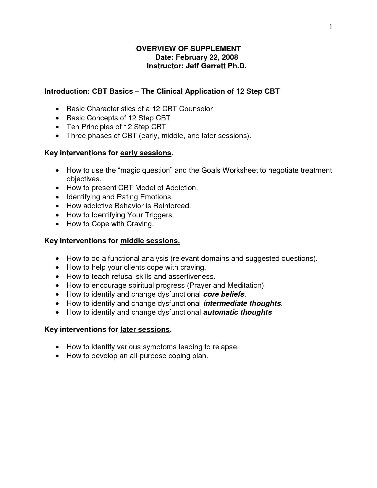 Addiction Relapse Prevention Worksheet