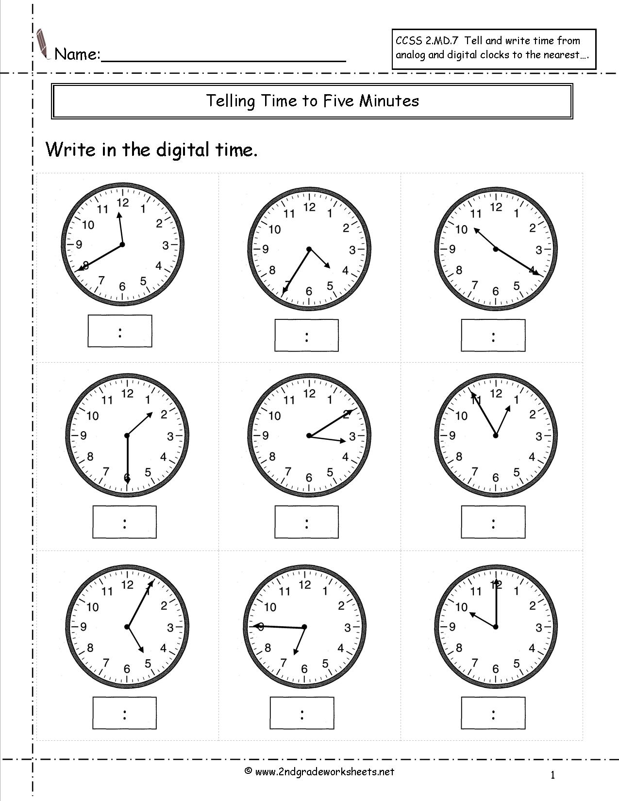 14 Best Images Of Clock Worksheets By 5