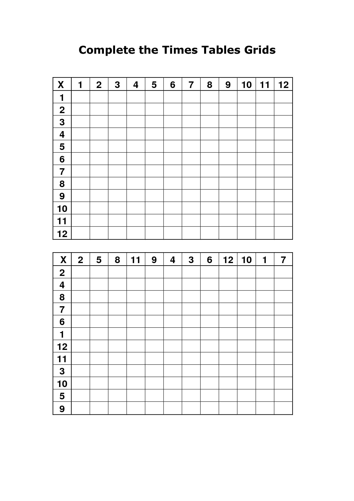 Search Results For Printable Blank Multiplication Table