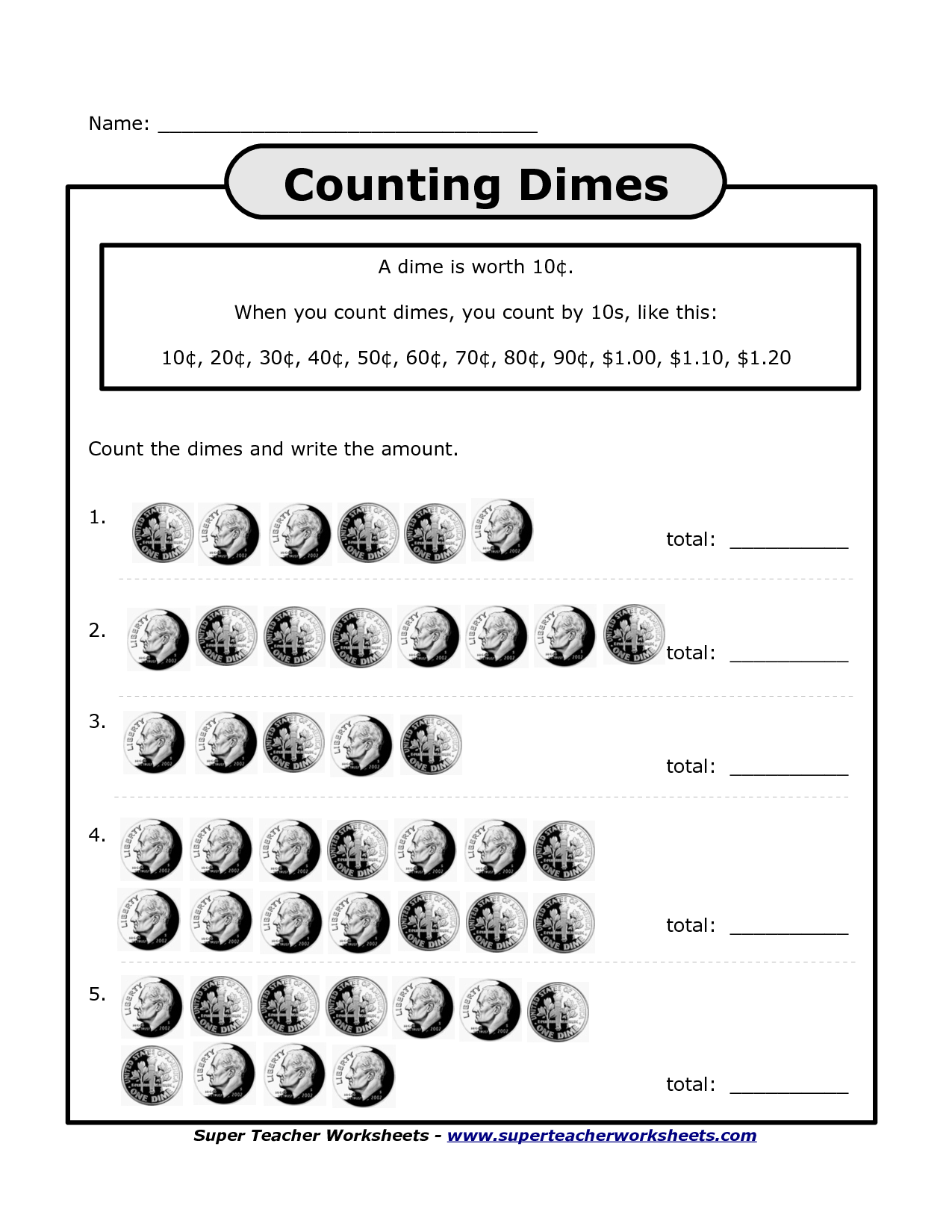Math Worksheet Counting Change