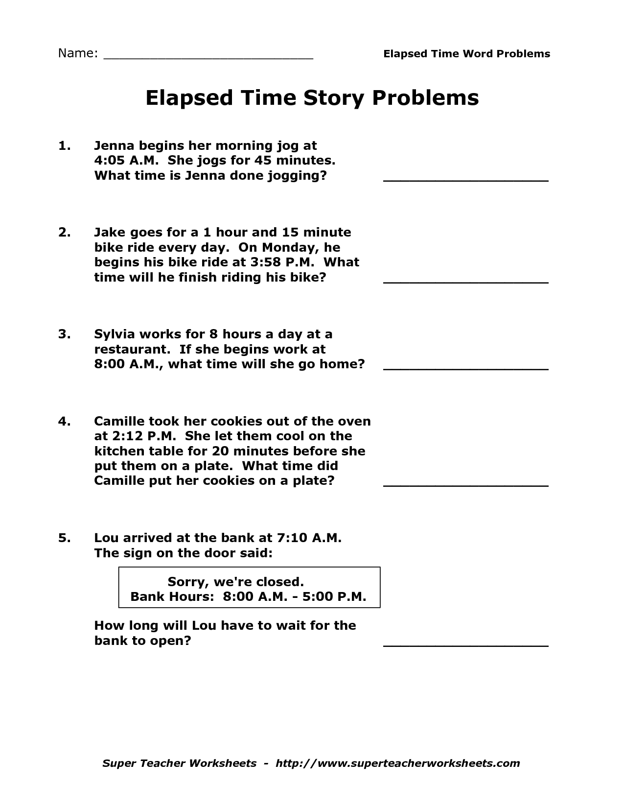Telling Time In Minutes Worksheet