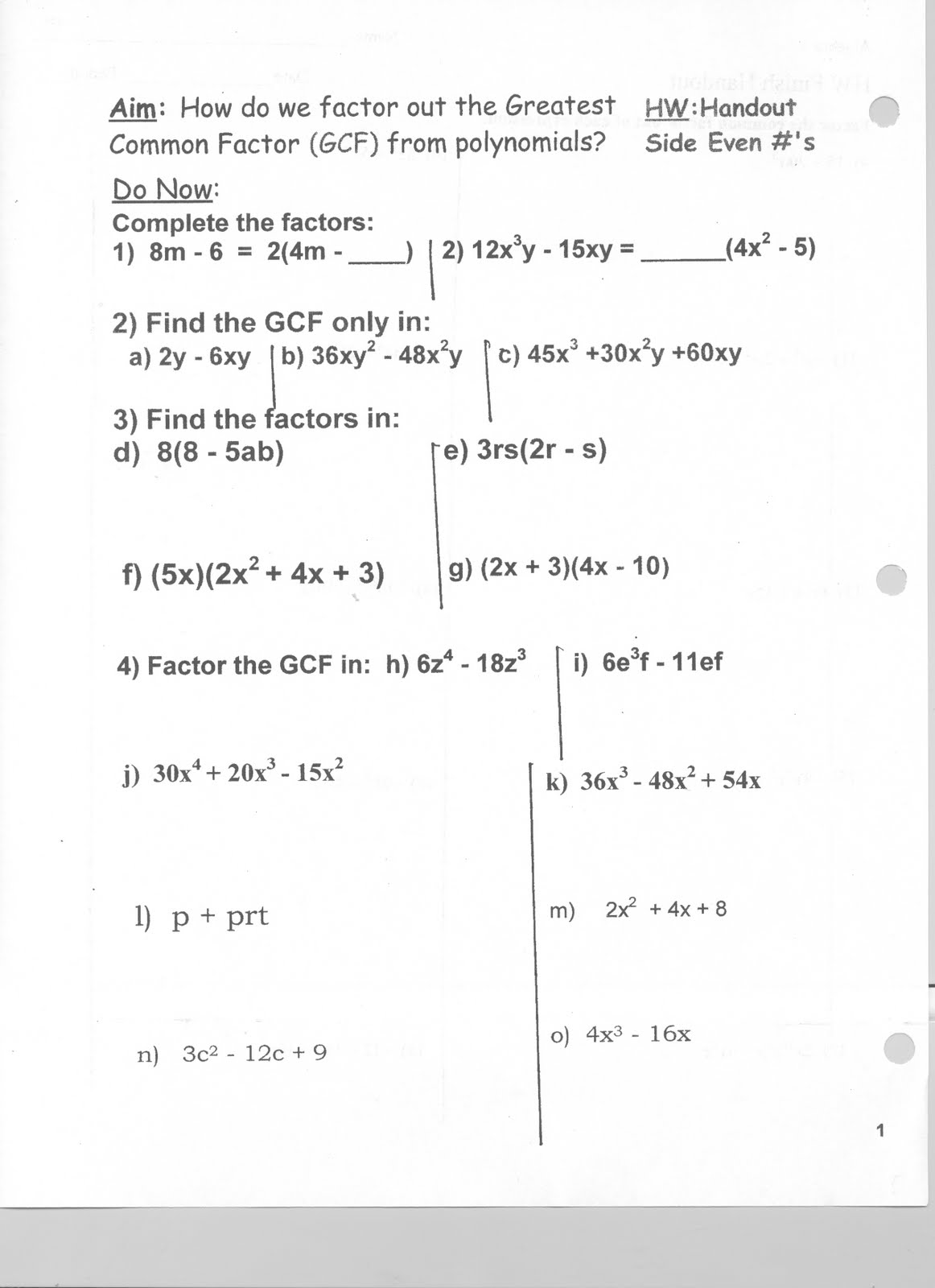 Worksheet Factoring Polynomials Gcf