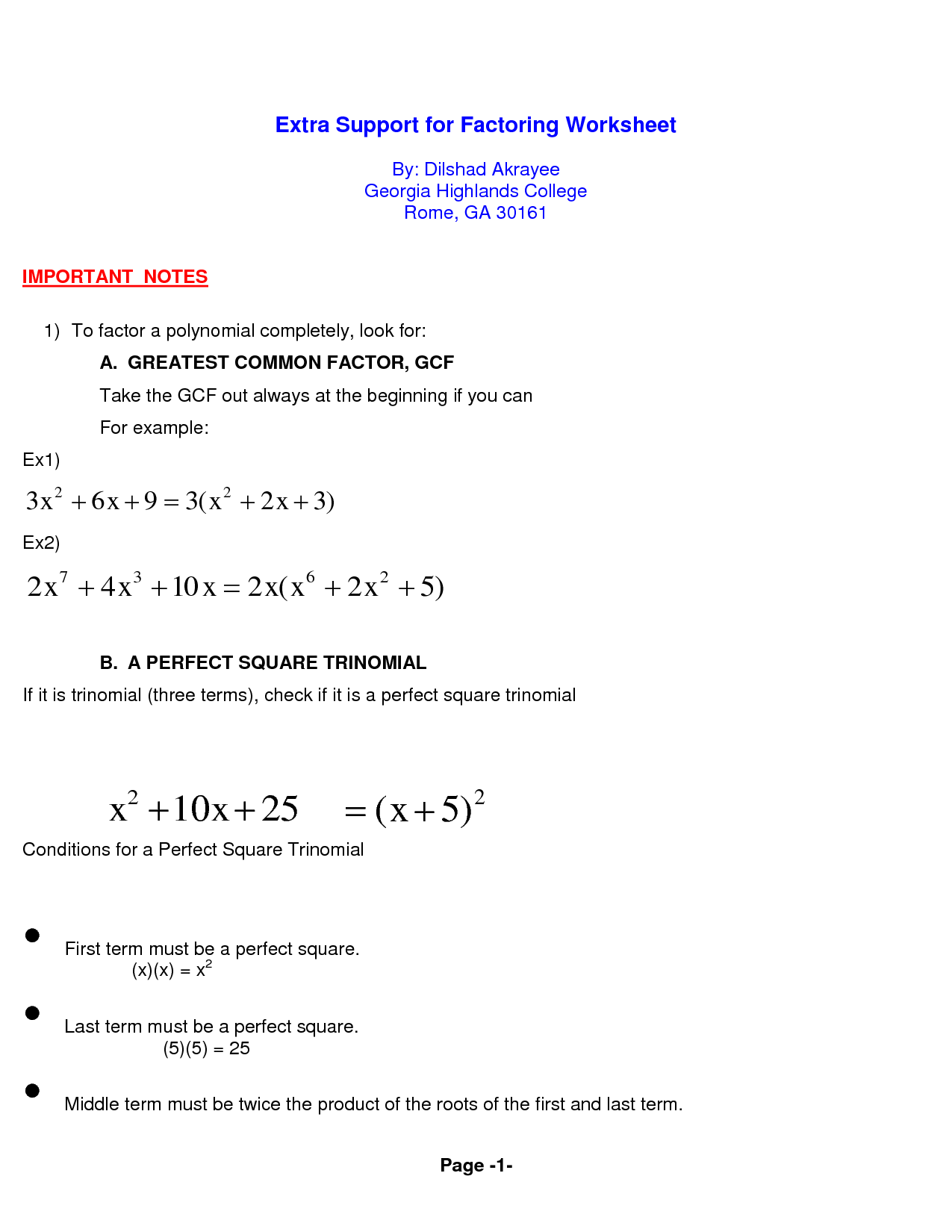 13 Best Images Of Factoring Polynomials Worksheet Gcf 5 1