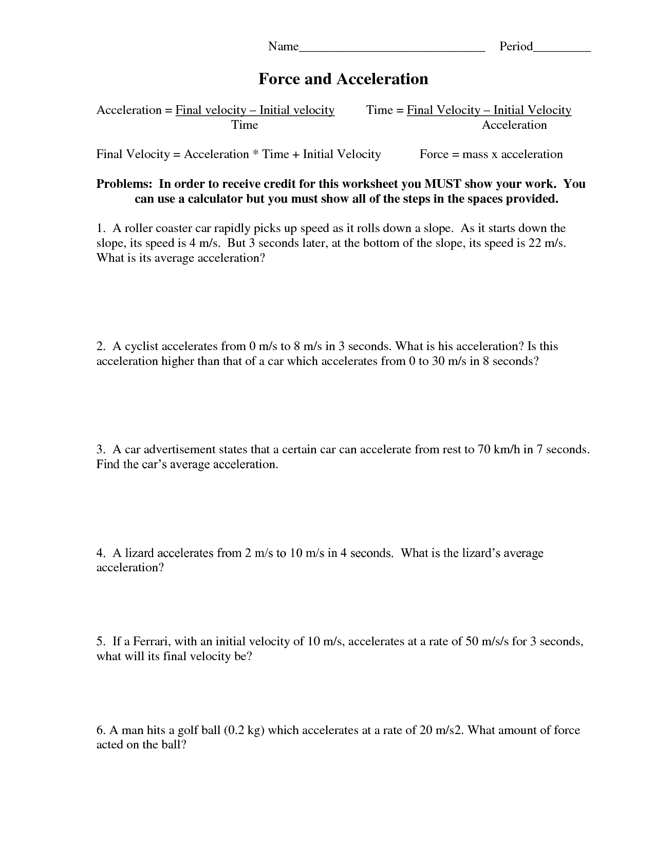 Forces Worksheet 6
