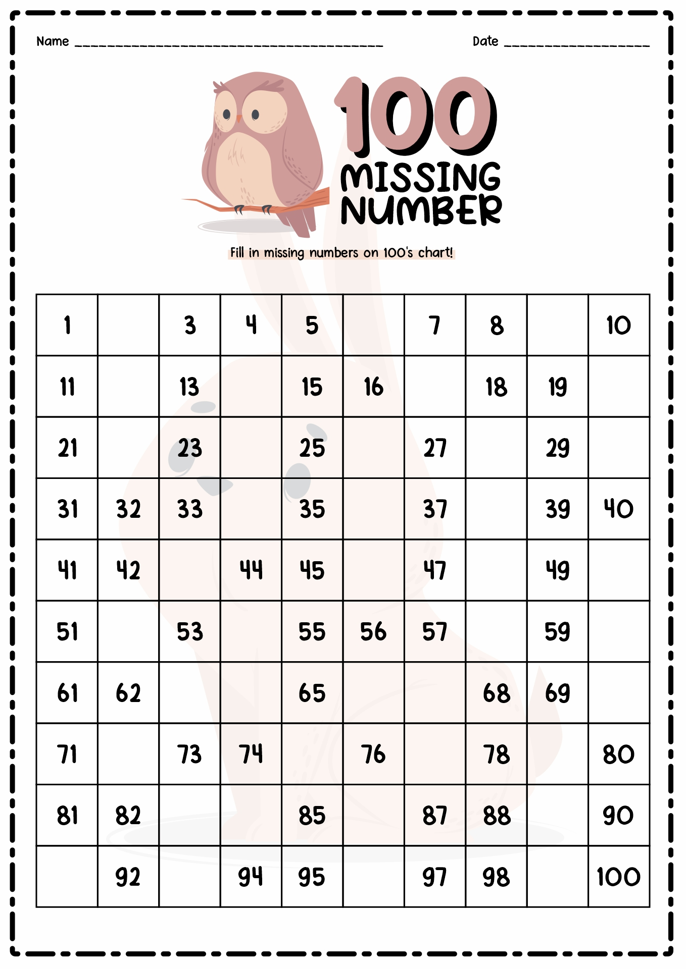 12 Best Images Of Hundreds Square Worksheet Missing