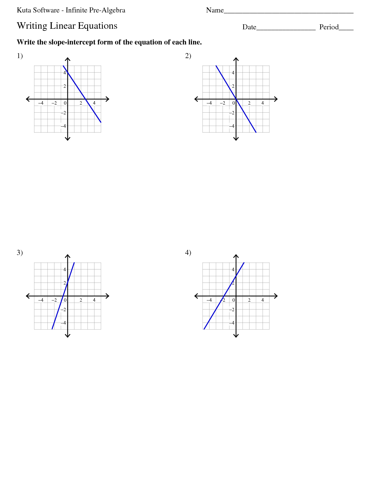 Kuta Worksheet Writing Linear Equations - Sewdarncute