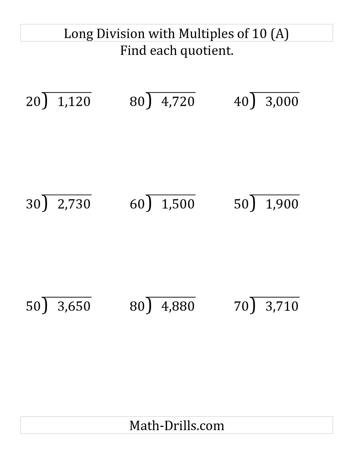 Short Division Worksheet No Remainders