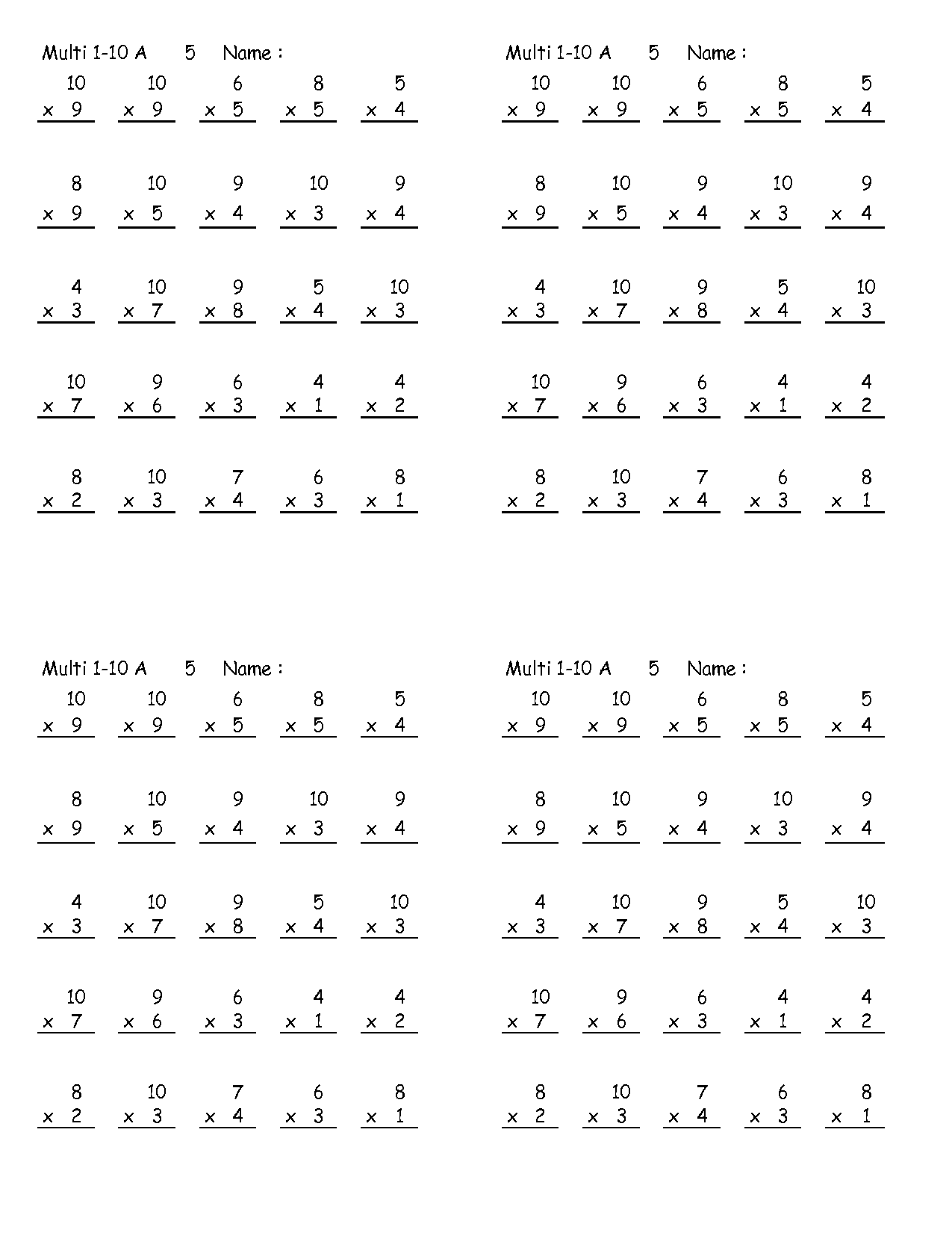 Multiplication Worksheets Year 3 Tes