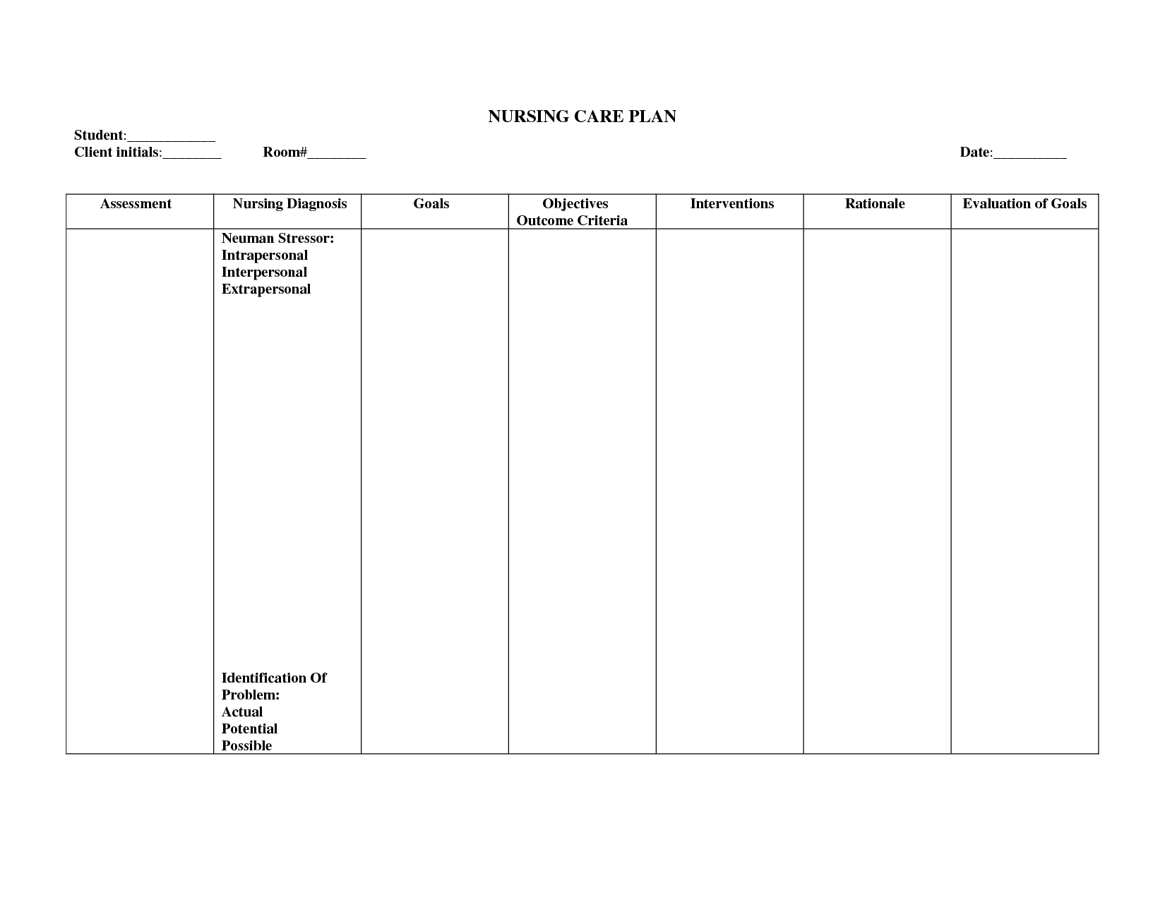 Nursing Care Plan Worksheet Template