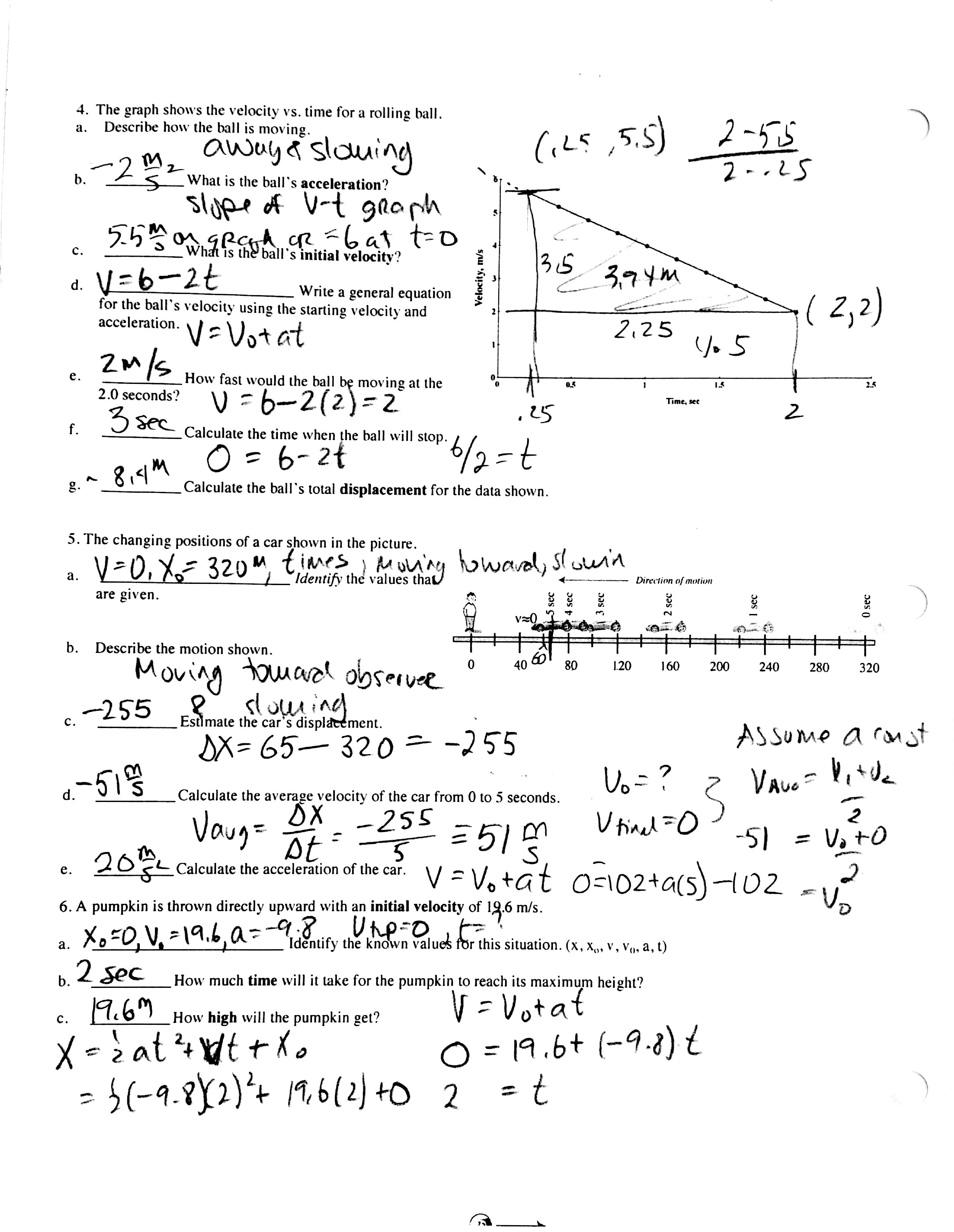 Kinematic And Linear Equation Practice Worksheet Answers
