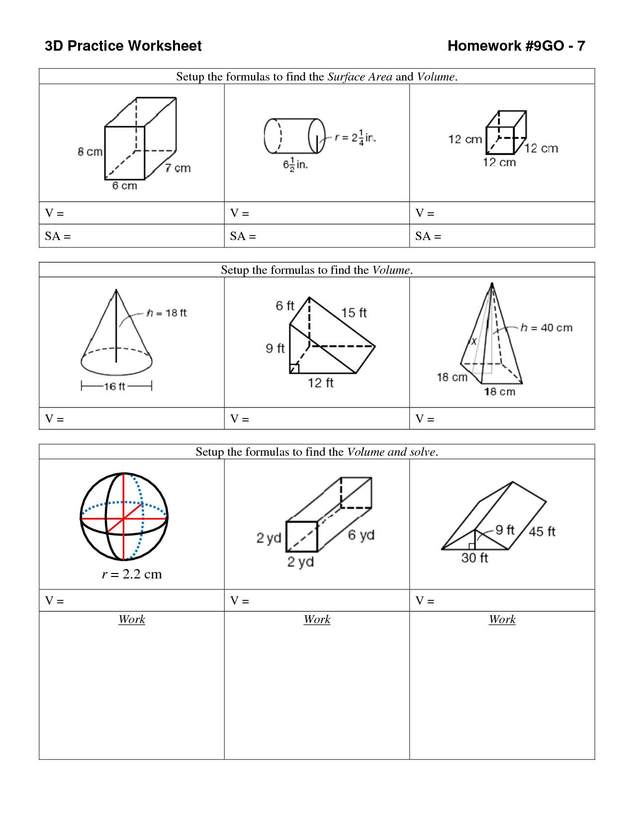 Volume And Area Worksheet
