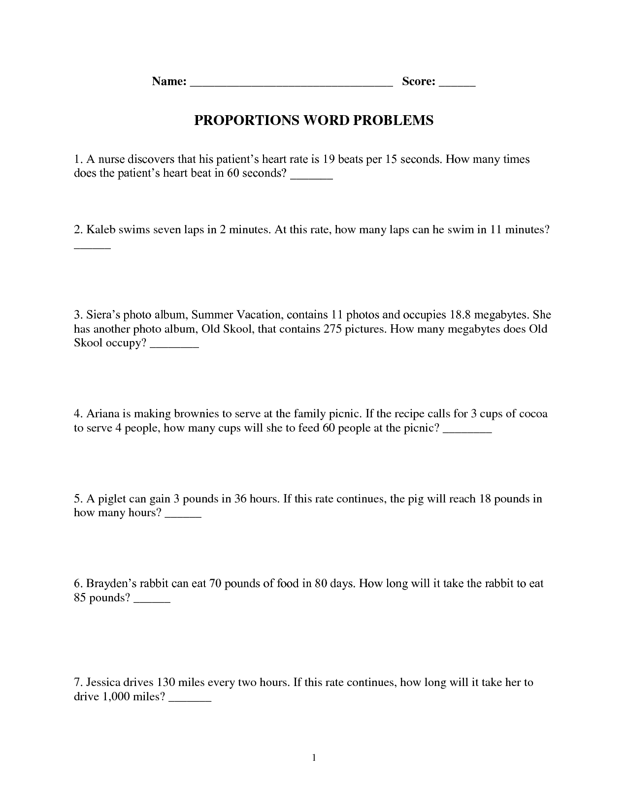 10 Best Images Of Proportion Problems Worksheet
