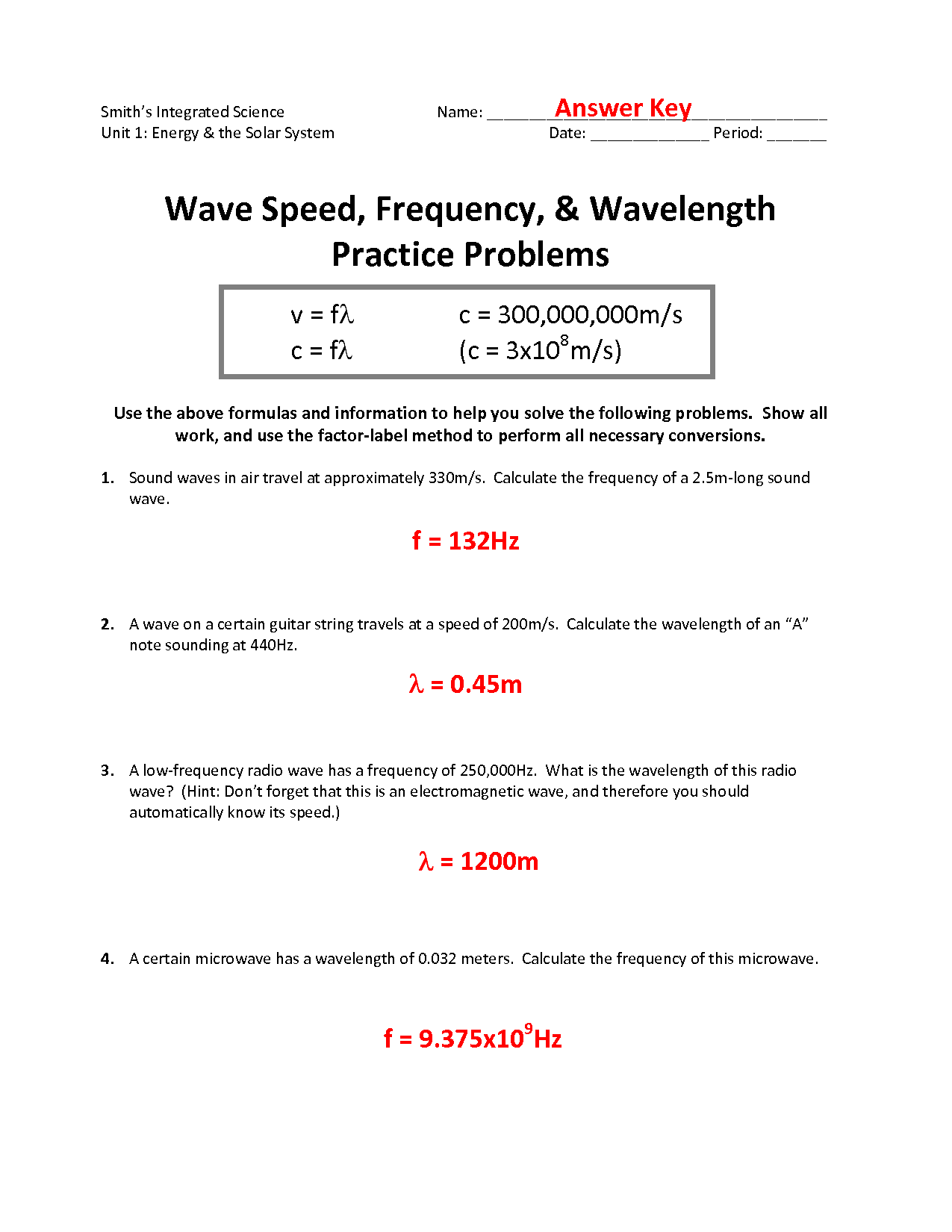 29 Wavelength Frequency And Energy Worksheet Answers