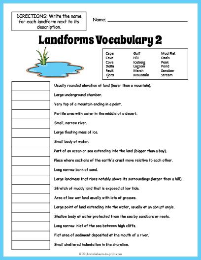 Landforms Vocabulary Worksheet 2