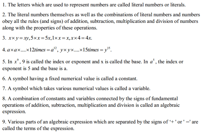 Algebraic Expressions Formulas for Class 7 Q1