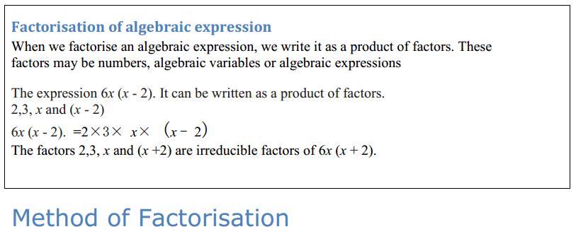 Factorisation Formulas Class 8 Q1