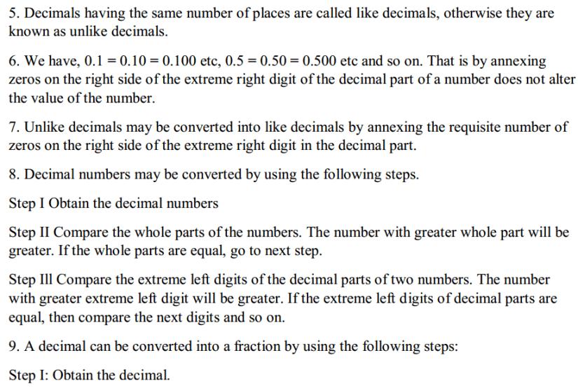 Fractions and Decimals Formulas for Class 7 Q4