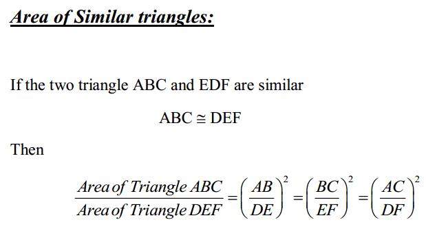 Triangles Formulas for Class 10 Q14