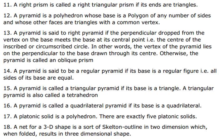Visualising Solid Shapes Formulas Class 8 Q2