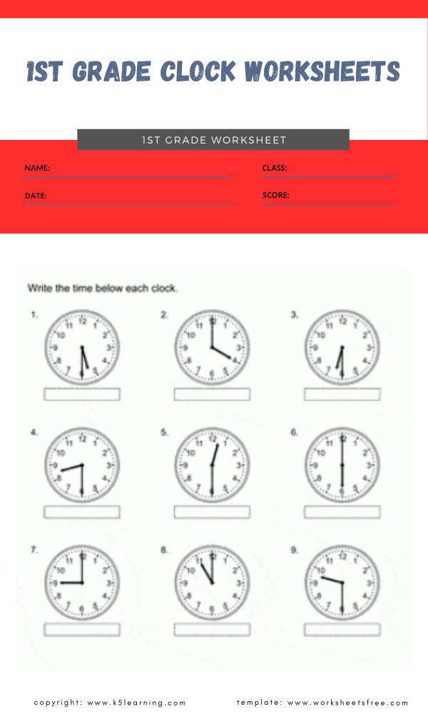 1st grade clock worksheets 1