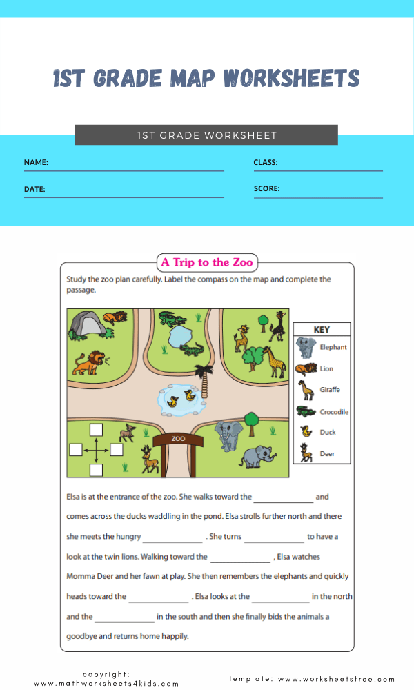 1st grade map worksheets 2