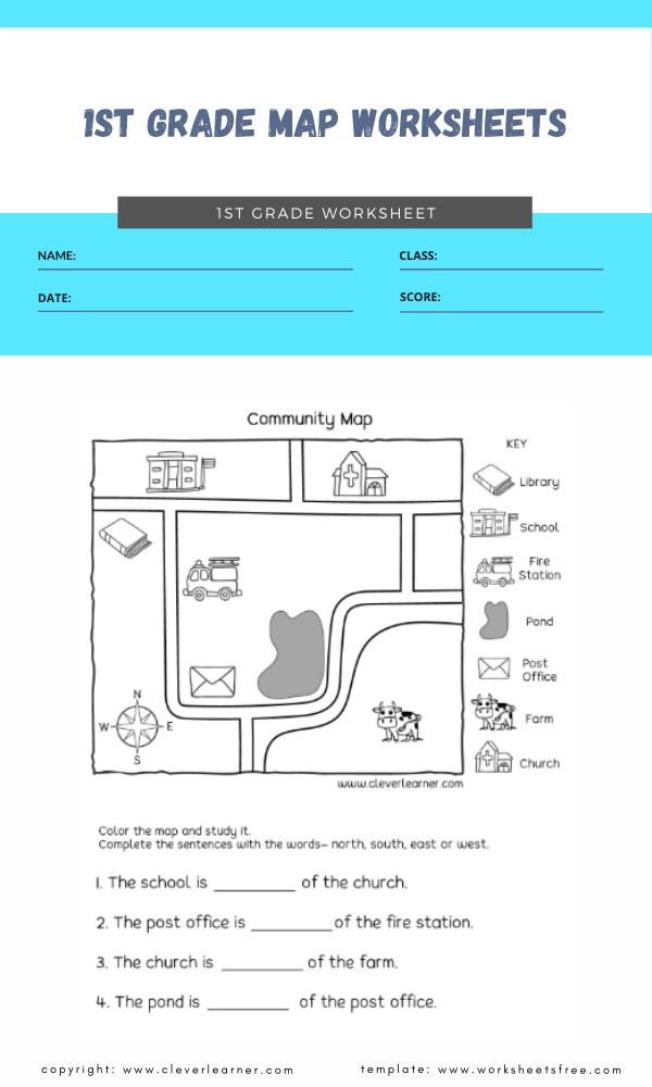 1st grade map worksheets 4