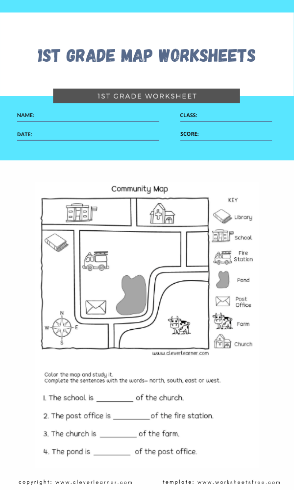 1st grade map worksheets 4