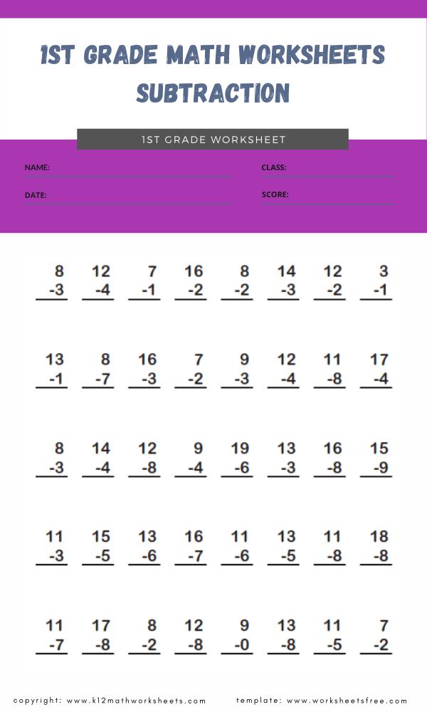 1st grade math worksheets subtraction 4