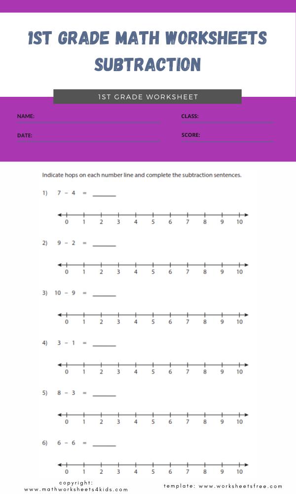 1st grade math worksheets subtraction 5