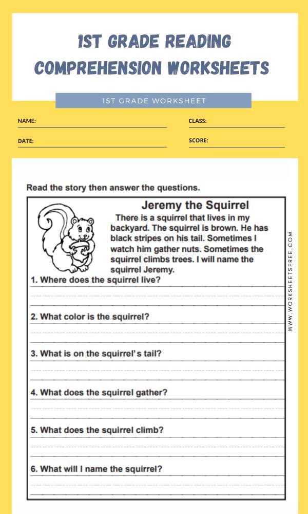 1st grade reading comprehension worksheets 10