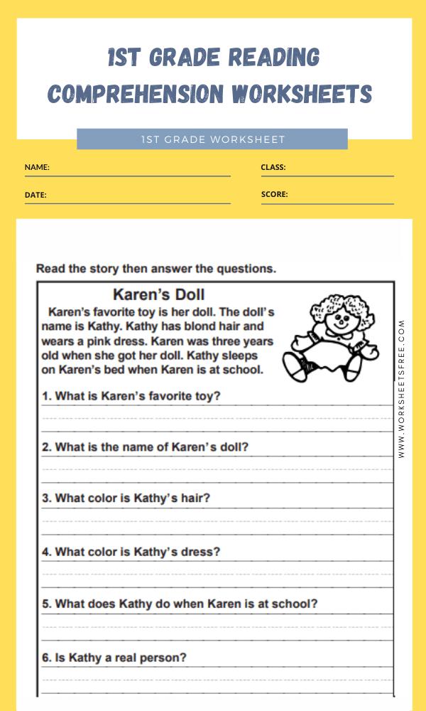 1st grade reading comprehension worksheets 5