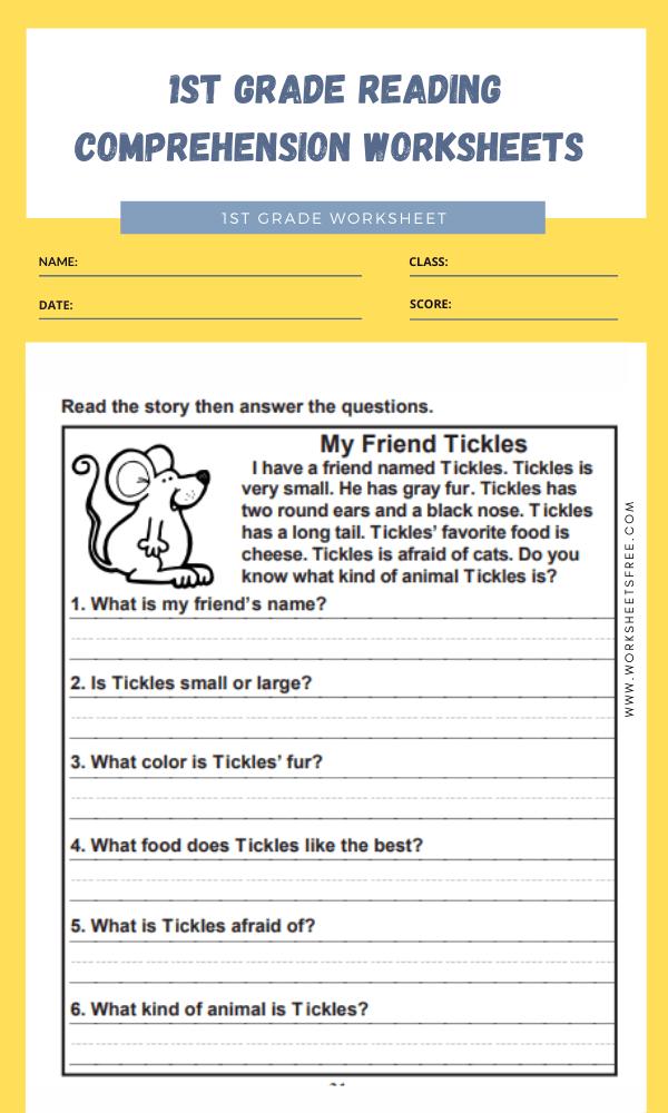1st grade reading comprehension worksheets 8