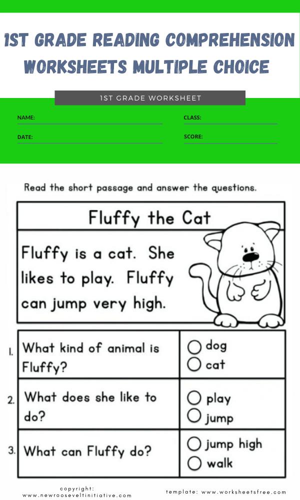 1st grade reading comprehension worksheets multiple choice 1