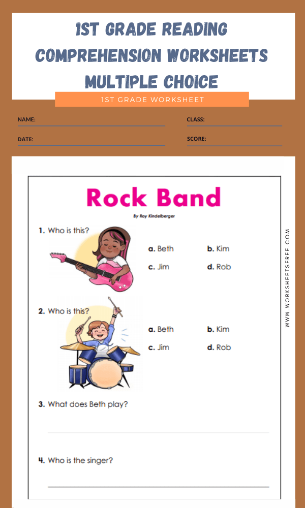 1st grade reading comprehension worksheets multiple choice 6