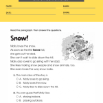 2nd grade reading comprehension worksheets multiple choice 4