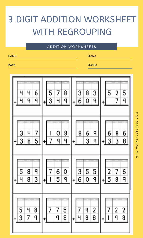 3 DIGIT ADDITION WORKSHEET WITH REGROUPING 4