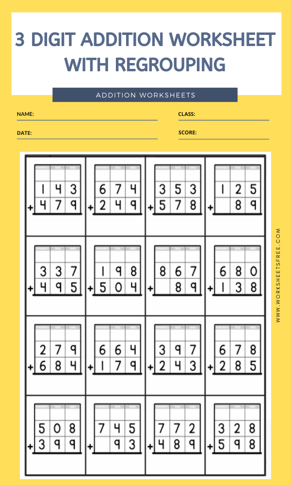3 DIGIT ADDITION WORKSHEET WITH REGROUPING 6