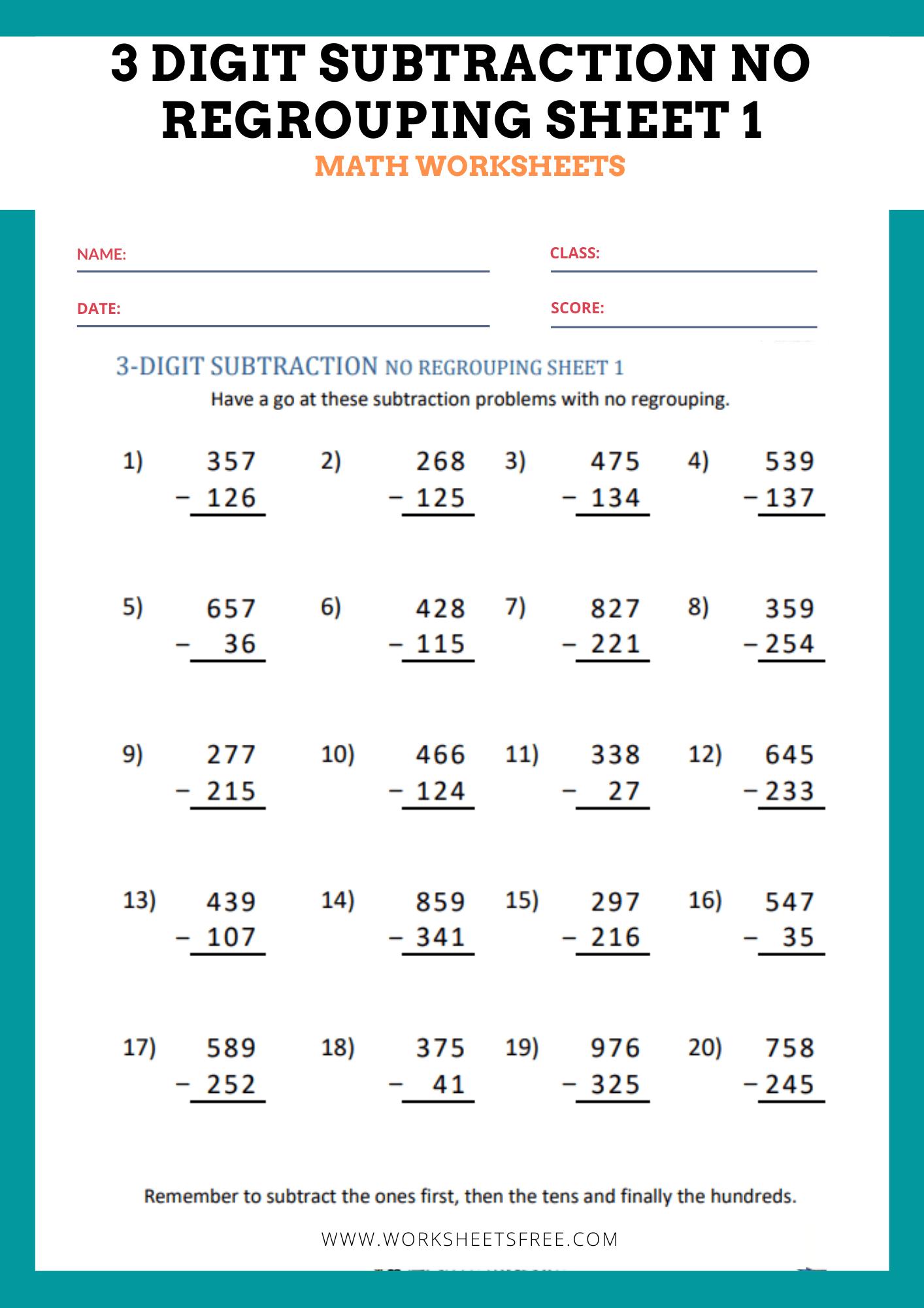 3 Digit Subtraction No Regrouping Sheet 1