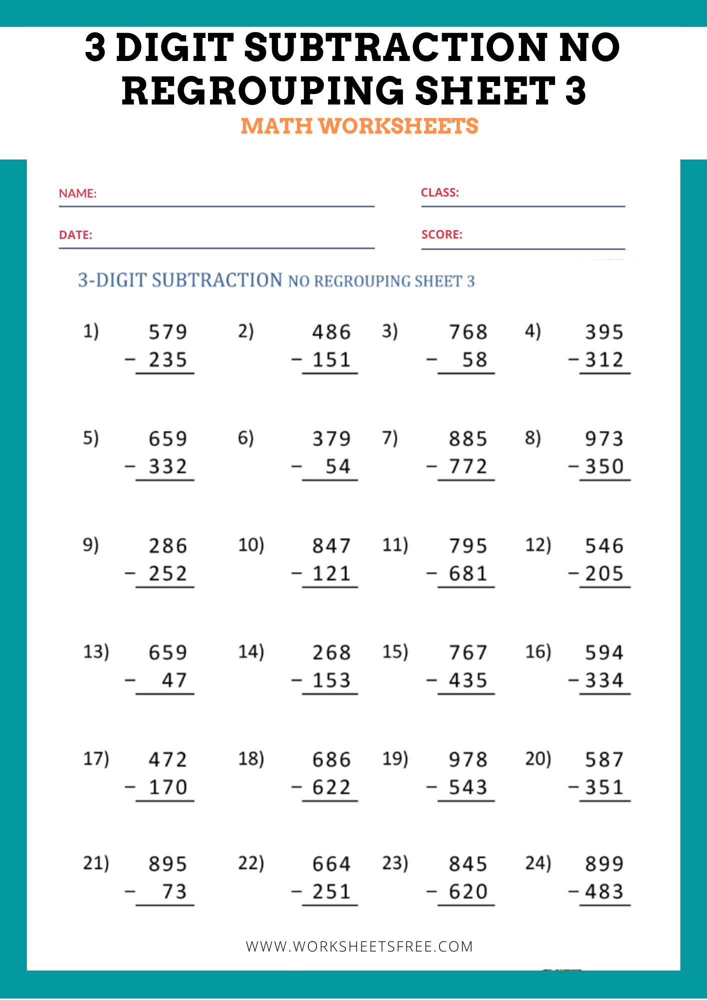 3 Digit Subtraction No Regrouping Sheet 3
