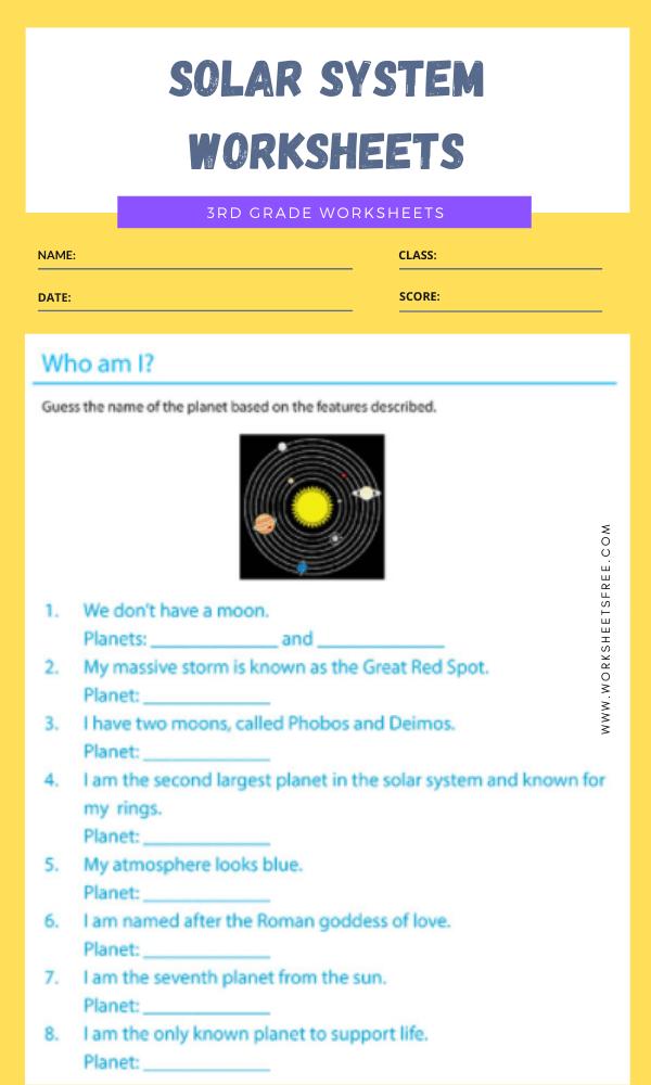 3rd Grade Solar System Worksheets 6