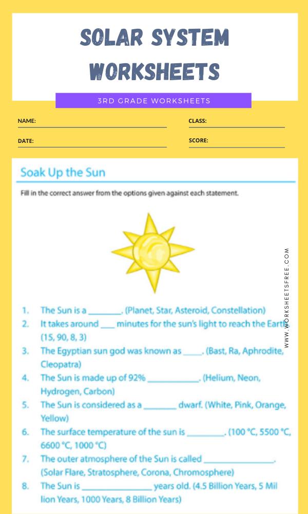 3rd Grade Solar System Worksheets 9