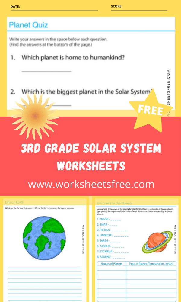 3rd Grade Solar System Worksheets