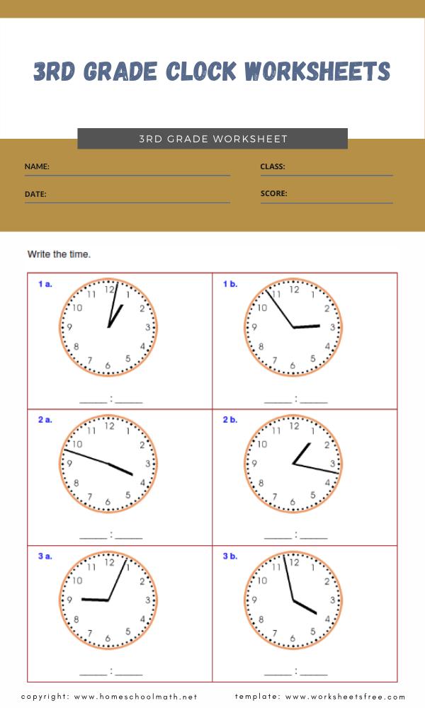 3rd grade clock worksheets 2