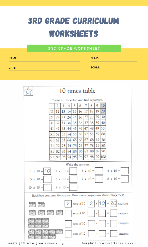 3rd grade curriculum worksheets 3