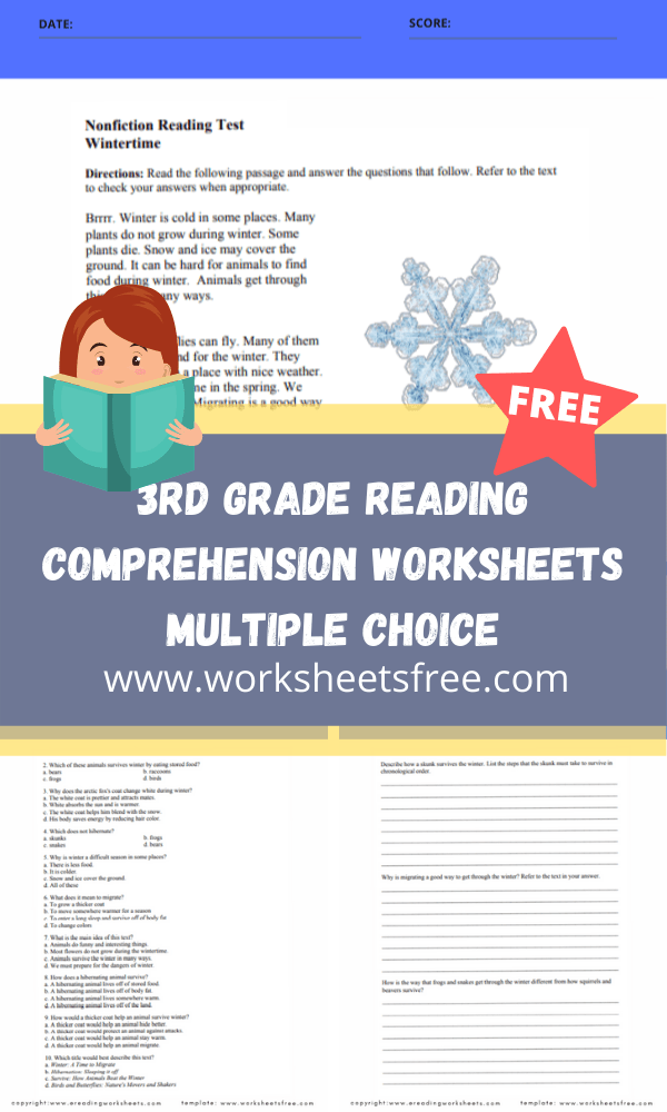 3rd Grade Reading Comprehension Worksheets Multiple Choice : Grade 3 Worksheets  Free